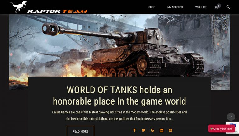 WOT tank and mission store in World of Tanks - Raptor Team
